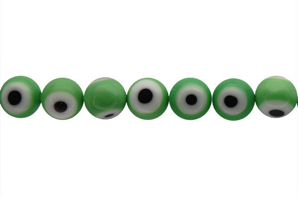 Chevron Glass Bead (Green) Round Eye