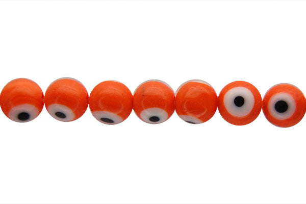 Chevron Glass Bead (Orange) Round Eye