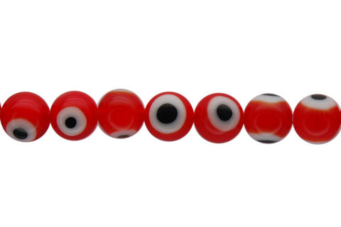 Chevron Glass Bead (Red) Round Eye