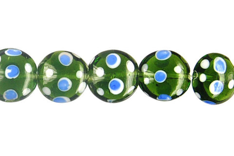 Art Foil Glass Button (Polka-Dotted Olive)