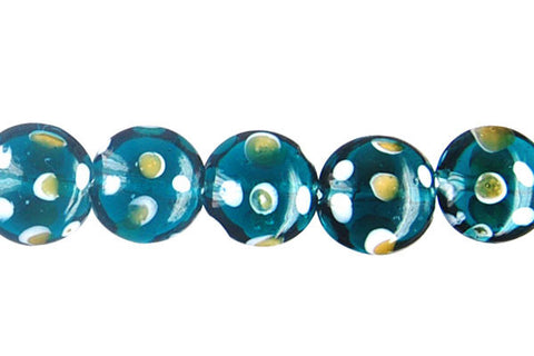 Art Foil Glass Button (Polka-Dotted Teal)