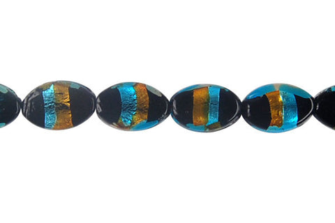 Art Foil Glass Flat Oval (Amber with Sky Blue)