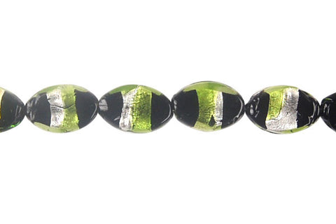 Art Foil Glass Flat Oval (Olive with White)