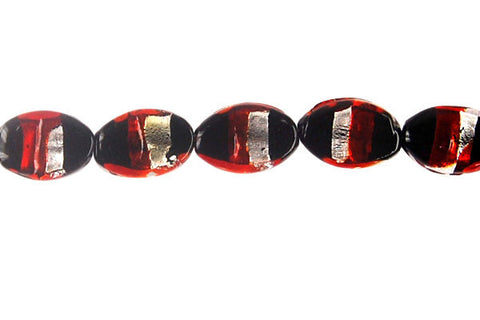Art Foil Glass Flat Oval (White with Red)