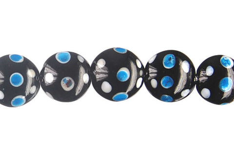Art Foil Glass Button (Polka-Dotted Black)
