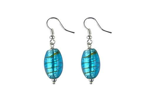 Murano Foil Glass Drum Earrings (Sky Blue)
