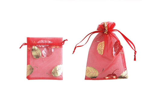 Organza Gift Pouch, Leaf, Red, 70x90mm