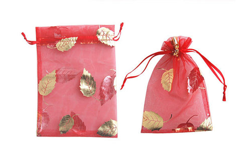 Organza Gift Pouch, Leaf, Red, 120x170mm