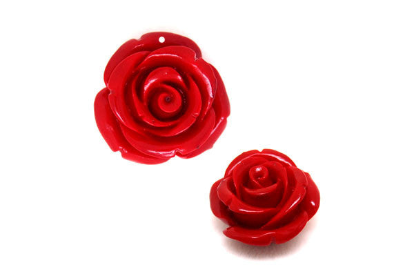 Pendant Synthetic Coral (Red) Rose