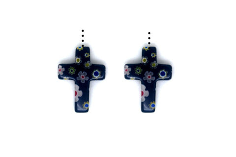 Millefiori Glass Cross (Black)