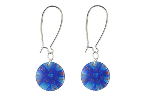 Millefiori Glass Earrings (Blue)