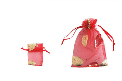 Organza Gift Pouch, Leaf, Red, 50x70mm