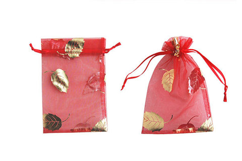 Organza Gift Pouch, Leaf, Red, 100x150mm