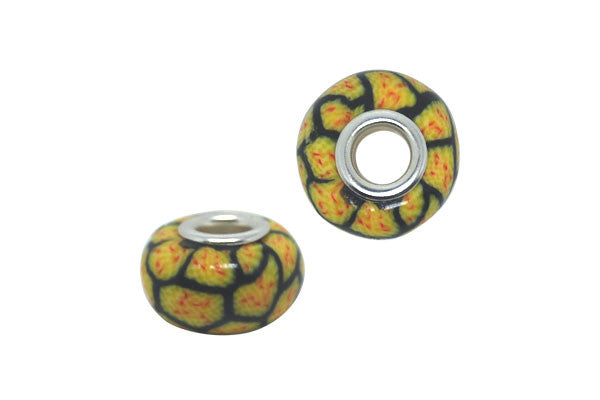 Fimo Rondelle w/Silver-Plated Core (Yellow Honeycomb), 10x15mm