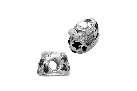 Metal Alloy Beads Baby Shoes w/Black Enamel (Silver-Plated), 10x13mm