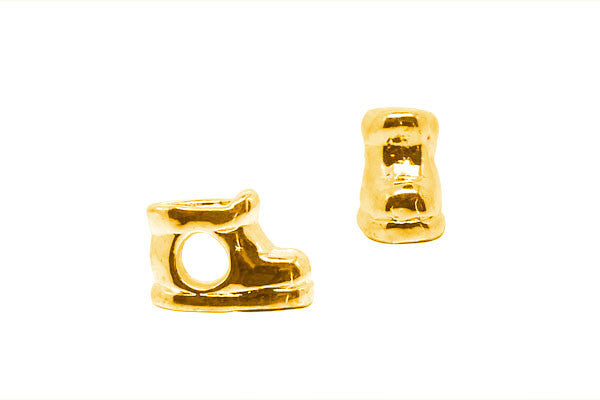 Metal Alloy Beads Boots (Gold), 7x12mm