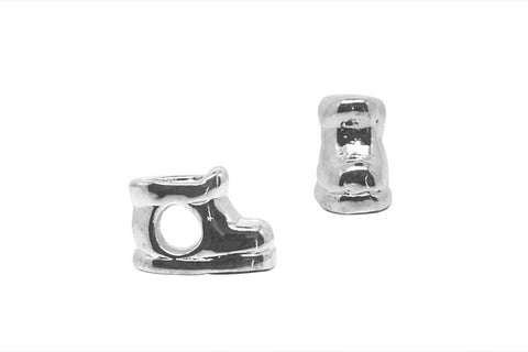 Metal Alloy Beads Boots (Silver-Plated), 9x14mm