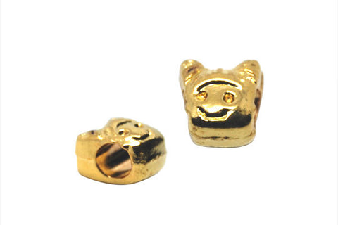 Metal Alloy Beads Girl Face (Gold), 9x10mm