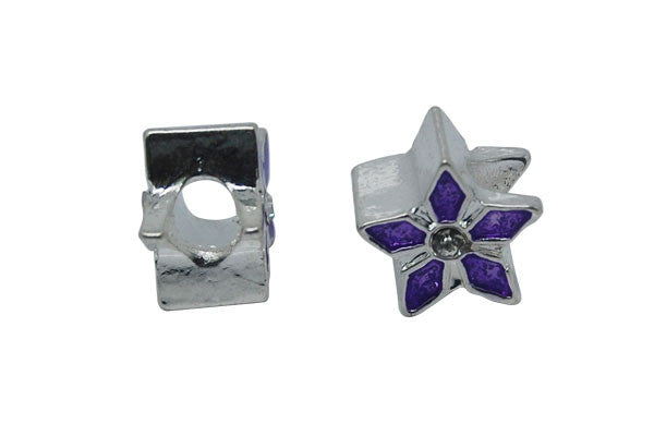 Metal Alloy Beads Silver Purple 5-Petal Flower w/Rhinestone, 7.5x11mm