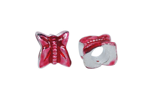 Metal Alloy Beads Silver Red Butterfly, 9x10mm