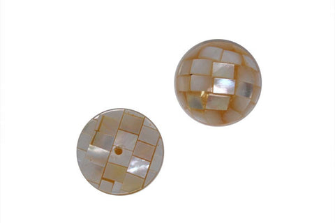 Shell Mosaic Half Drilled Half Round (White), 16mm