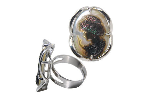 Silver-Plated Abalone Ring(size Adjustable)