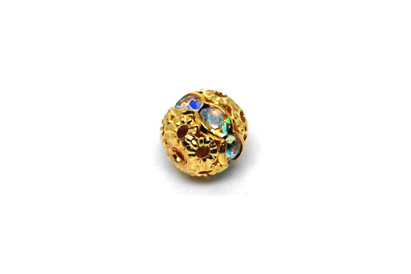 Gold-Plated Brass Round w/AB Color Rhinestone, 8mm