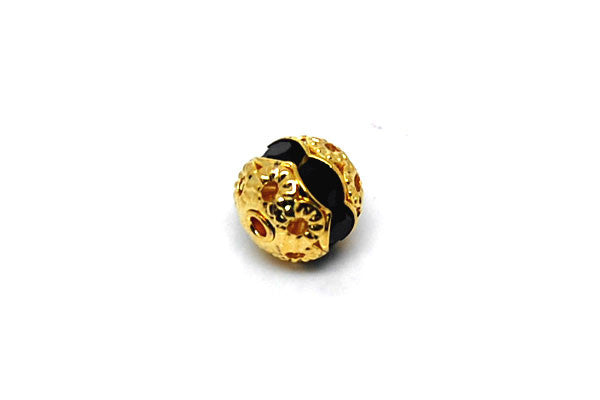 Gold-Plated Brass Round w/Black Rhinestone, 8mm