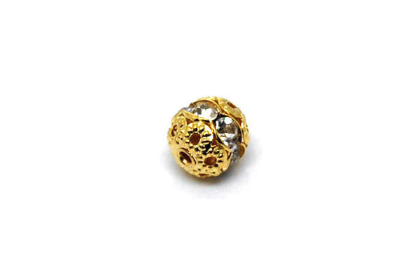 Gold-Plated Brass Round w/Clear Rhinestone, 6mm