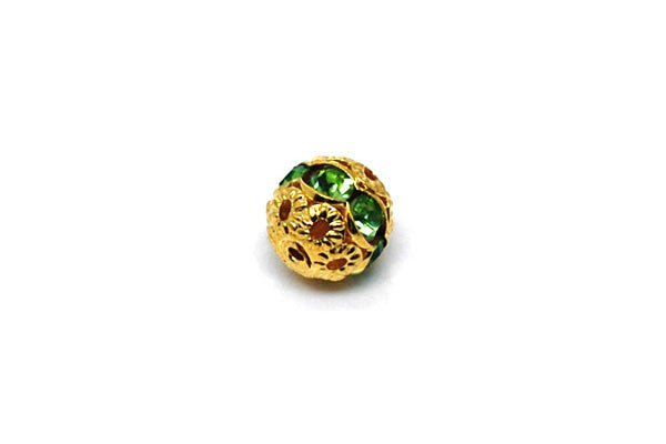 Gold-Plated Brass Round w/Green Rhinestone, 6mm