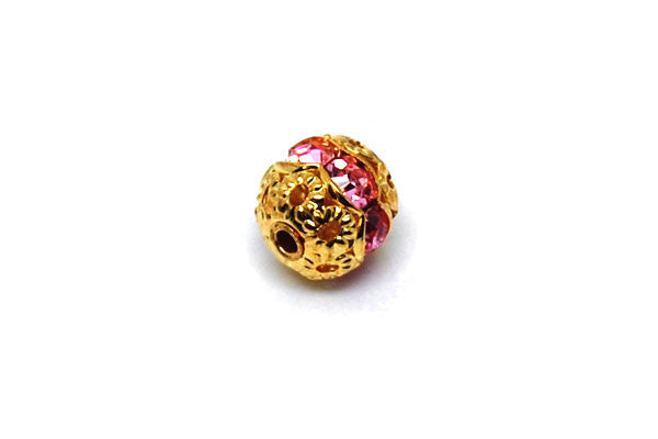 Gold-Plated Brass Round w/Pink Rhinestone, 8mm