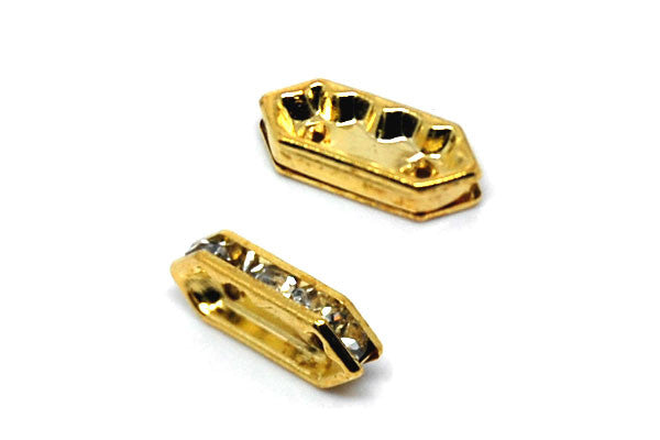 Gold-Plated Brass Spacer Diamond 2 Hole w/Rhinestone, 6x15mm