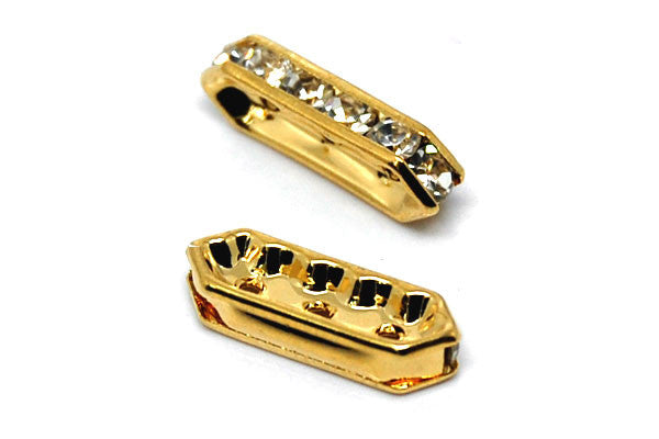 Gold-Plated Brass Spacer Diamond 3 Hole w/Rhinestone, 6x18mm
