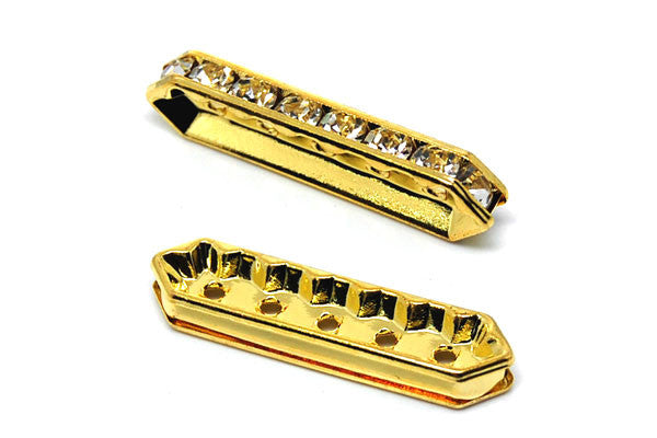Gold-Plated Brass Spacer Diamond 5 Hole w/Rhinestone, 9x30mm