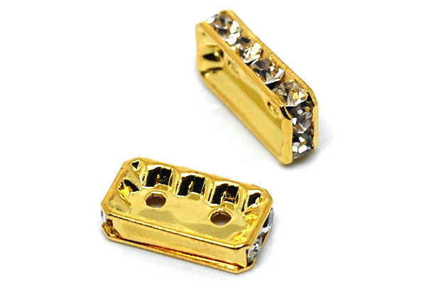 Gold-Plated Brass Spacer Rectangle 2 Hole w/Rhinestone, 8x15mm