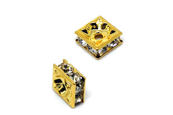 Gold-Plated Brass Spacer Square w/Rhinestone, 8mm