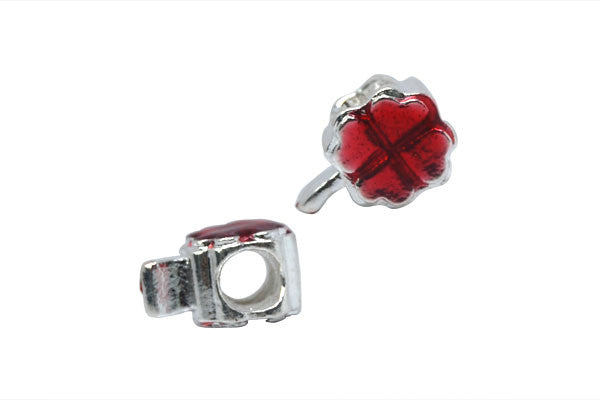 Metal Alloy Beads 4-Leaf Clover w/Red Enamel (Silver), 9x13mm