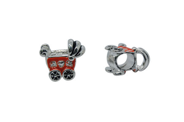 Metal Alloy Beads Baby Stroller w/Black and Orange Enamel (Silver), 15x16mm