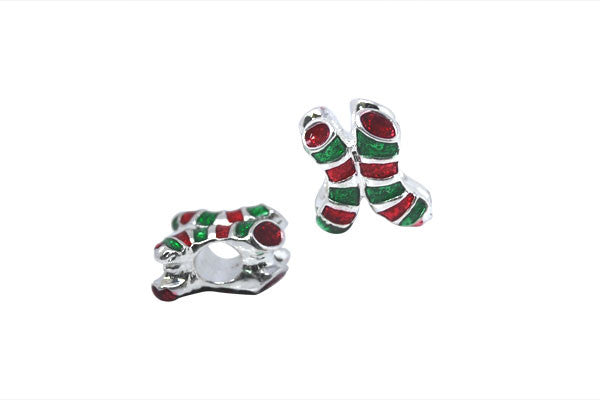 Metal Alloy Beads Christmas Stockings w/Red & Green Enamel (Silver), 11x14mm
