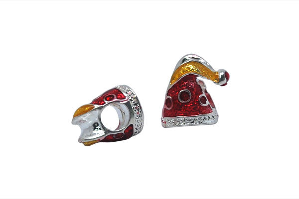 Metal Alloy Beads Elf Hat w/Red & Yellow Enamel (Silver), 11x11mm