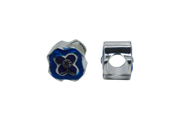 Metal Alloy Beads Flower w/Blue Enamel & Clear Rhinestone (Silver), 10x10mm