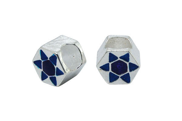 Metal Alloy Beads Hexagon w/Blue and Purple Enamel (Silver), 8x10mm