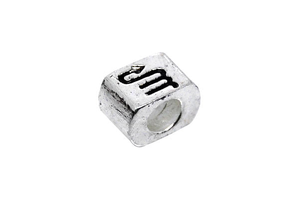 Metal Alloy Beads Nugget w/Black Enamel Scorpio (Silver), 7x10mm