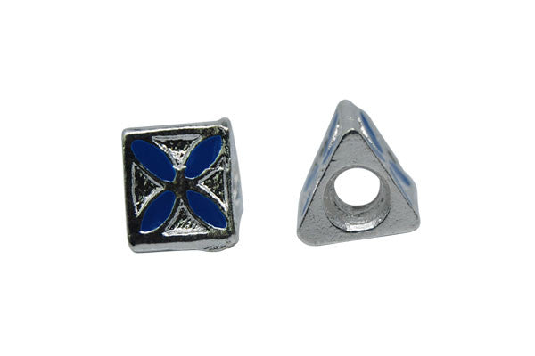 Metal Alloy Beads Triangle w/Blue Enamel (Silver), 10x10mm