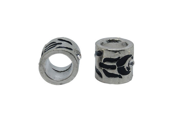 Metal Alloy Beads Tube w/Black Enamel & Clear Rhinestone (Silver), 10x10mm