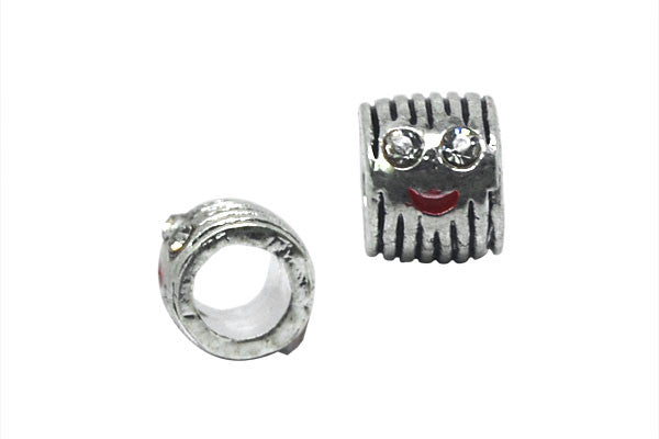 Metal Alloy Beads Tube w/Black Enamel & Smiling Face (Silver), 7x10mm