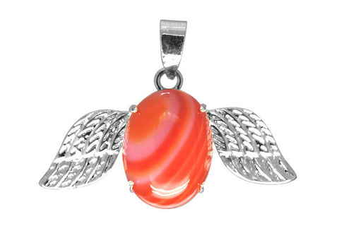 Pendant Agate (Red) w/ Wings