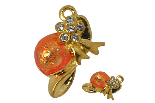 Gold-Plated Charm Orange Hat w/Crystal Rhinestone, 14x21mm