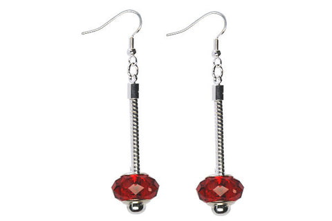Pandora Style Earring, Silver-Plated w/Chinese Crystal Faceted Rondelle (Red)