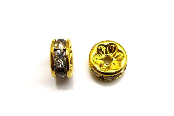 Gold-Plated Rondelle w/Crystal Rhinestones, White, 4x8mm